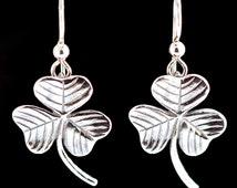 Shamrock Earrings Silver - Clover Earrings - Clover Jewelry Shamrock Jewelry - Good Luck Charm Leaf Earrings Leaf Jewelry Saint Patricks Day