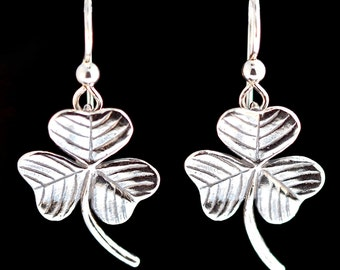 Shamrock Earrings Silver - Clover Earrings - Clover Jewelry Shamrock Jewelry - Good Luck Charm Leaf Earrings Leaf Jewelry Saint Patricks Day