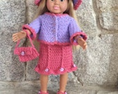 6 Piece Crochet Purple and Raspberry Skirt Outfit/Clothing for American Girl Dolls/ 18 inch. doll