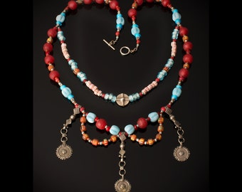 African bead necklace * split complementary color theory * old beads * this necklace won an award