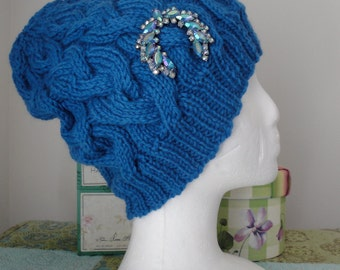Persian Blue Cable Hat w/rhinestone brooch