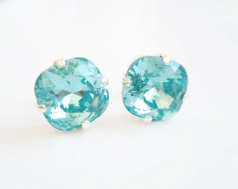 Aqua blue crystal earrings - square stone crystal earrings - light turquoise