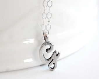 Personalized Initial Necklace in Sterling Silver - Script Letter - Delicate