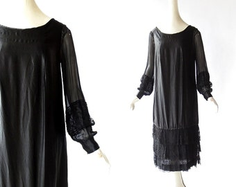 Vintage 1920s Dress / Black Silk Dress / 20s Dress / S M