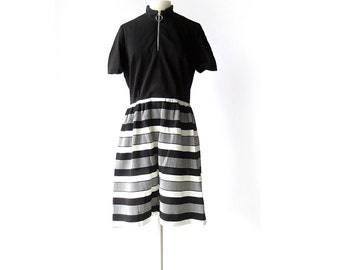 60s Mod Dress / Black and White Striped Dress / 1960s Dress / M L