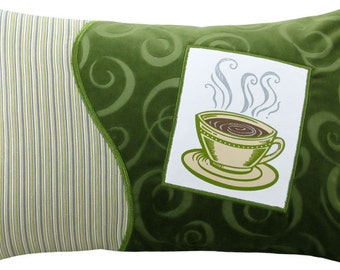 "Coffee Cup ""Short"" Decorative Breakfast Size Pillow 12 x 18 inches"