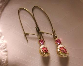 FLORAL DROP EARRINGS Vintage Pink floral earrings Summer floral dangle earrings flower earrings vintage jewelry gift for her floral earring