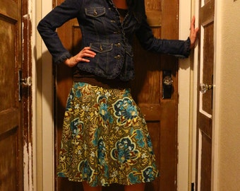 Ladies Full Circle Skirt, Gothic Rose in Tourquoise, Woman's A line, Skirt, Custom Made in ALL lengths and sizes from petite to plus