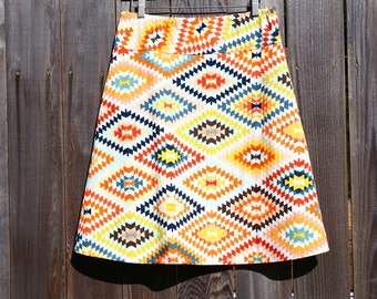 """Serape in Fervor Simple A-Line skirt, Native, Tribal, Vintage, Simple A-line, All sizes, and lengths available, women's hip sizes 34"""" to 56"""""""