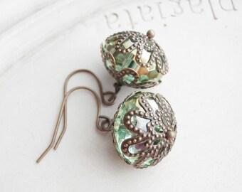 Beaded Earrings - Pale Green Crystals