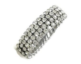 Clear Ice Rhinestone Expansion Bracelet Vintage 4 Rows