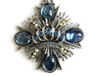 Vintage Blue Glass Moonstones, Blue Rhinestones and Faux Pearls Maltese Cross Pendant Necklace