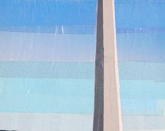 Morning at the Washington Monument, 7x5 inch ORIGINAL COLLAGE ART