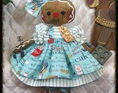 """Primitive Raggedy NEW 2015 """"COOKIE"""" Gingerbread Collection! 14"""" doll w/ornies"""