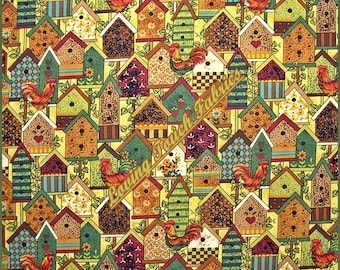 """Northcott / Gregg #2165 """"Rooster""""s Roost"""" Bird Houses Roosters Cotton Fabric FQ 18"""" x 22"""""""
