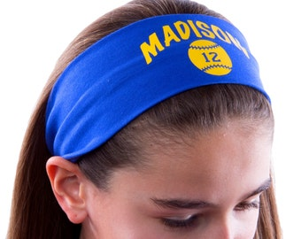 Design Your Own Custom SOFTBALL Cotton Stretch Headband with Your Custom Team Name & Number - Quantity Discounts Available!!