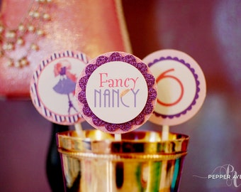 Fancy Nancy Inspired Cupcake Toppers - Fancy Nancy Party Ages 3, 4, 5, 6, 7 - Instant Download - DIY Print-at-home PDF Files