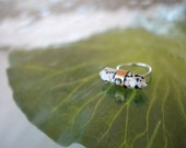 dalmatian jasper ring, point, crystal, statement, opal, sterling silver, brass, cocktail // OPAL AXIS RING