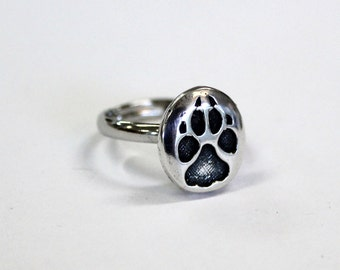 Tiny Wolf Track Ring Sterling Silver Wolf Paw Track Ring 167