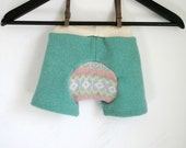 wool harem shorties - baby shorts - baby wool shorts - wool diaper cover shorts - woolies - hybrid diaper cover - shorts small 1 to 6 months