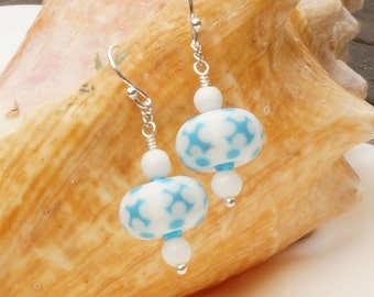 Turquoise and white lampwork glass and silver handmade hook earrings