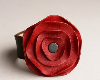 leather cuff, leather scarf cuff, Rouge Red poppy scarf cuff