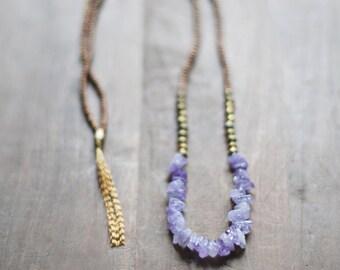 Mixed Media Boho Necklace /  Light Purple Necklace /  Gemstone Necklace / Amethyst Necklace