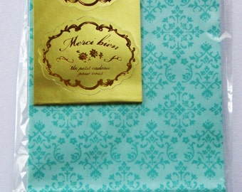 Cute Green Japanese Paper Gift Bags / Party Bags - Symmetrical Pattern - Comes With Gold Seals