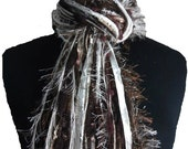 Coconut Dreams - Womens Scarf Fringe Scarves - Shades of Cream, Ivory, Beige, Tan and Brown
