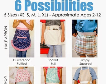 Child's Apron Pattern (6 style variations, 5 different sizes) - PDF Sewing Pattern