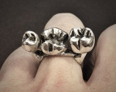 Silver Teeth Ring - hand carved from wax and cast in my Austin Tx Studio - Sterling Silver Molar Teeth Ring