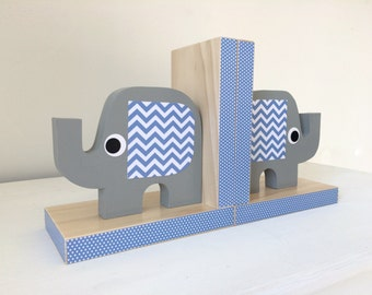 Elephant Bookends, Elephant Nursery, Elephant Kids Decor, Blue and Gray, eco-friendly, Chevron or Polka Dot Ear Pattern