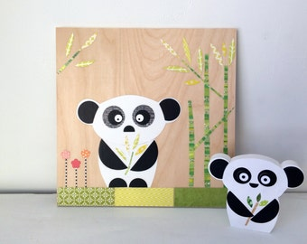 Panda Collage, Kids Wall Art, Jungle Theme, eco friendly