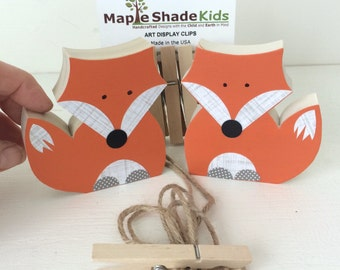 Fox Art Display Clips, Woodland Themed Decor, Woodland Themed Kids, Woodland Themed Nursery, Orange or Gray, eco friendly