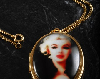 """Bohemian Creation """"Marilyn Monroe"""" Locket Necklace Gold PLated Metal 24"""" Chain"""