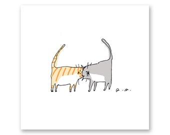 Headbutters Cat Print- Cute Cat Art