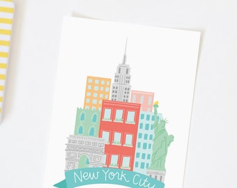 Illustrated New York City Print - Hand Lettering - New York City Map