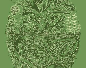 Tree Roots Screenprint - Tree Print 18x24