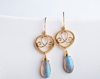 Savah: Petite Filigree Drop Earrings w/ Muted Gemstones in Gold-filled, Blue Flash Labradorite, Lotus, Grey, Medium, Wrapped