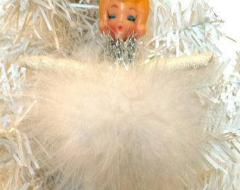 SALE Spun Cotton Ornament Vintage Angel