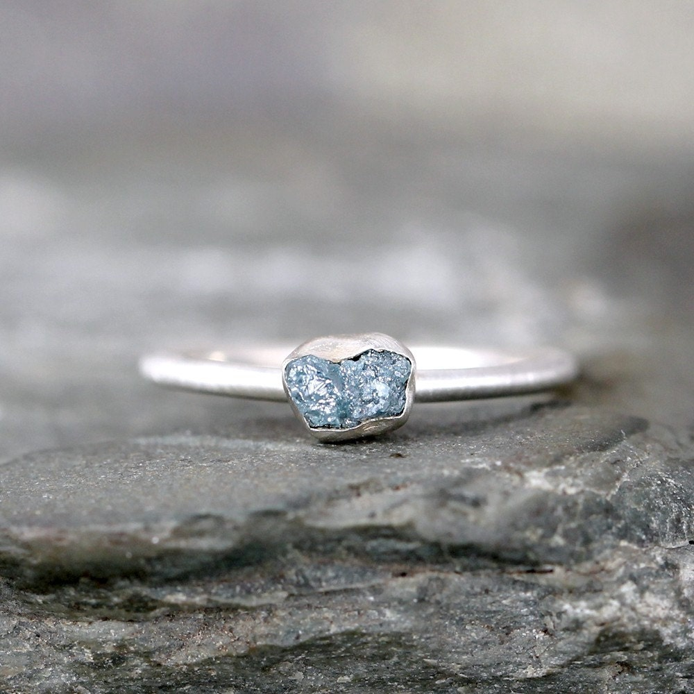 Raw Blue Diamond Engagement Ring 1/2 Carat Conflict Free
