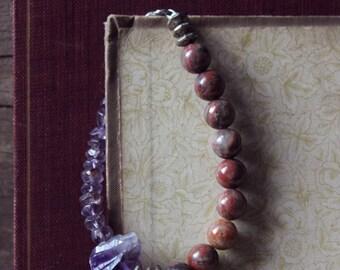 Larkspur. Rustic Bohemian Amethyst and Red Sesame Jasper Beaded Bracelet.
