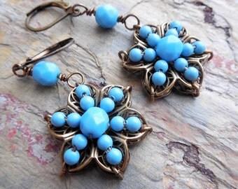 Aqua Blue Pearl Drop Earrings, Floral Filigree, Glass Pearl, Antiqued Brass, Flower Earrings, Beach Jewelry, Glass Pearls, Summer Fashion