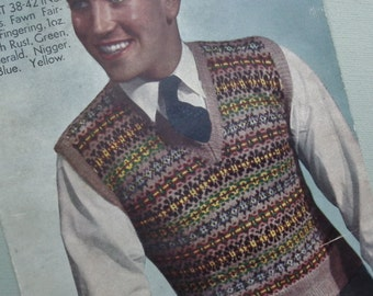 Vintage 1940s Knitting Pattern Mens Pullover Slipover Vest - 40s Fair Isle pattern original colour pattern traditional knitting - Bestway UK