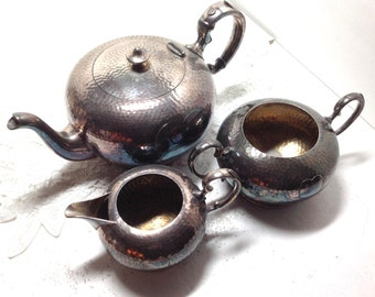 Teapot Set Heart Silver Plated - Vintage International Silver Company - Teapot Creamer and Sugar - Love Gift for Her - Silver Plate Tea Set