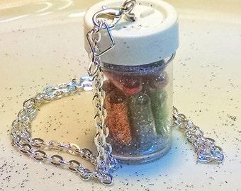 Glitter Pills in Jar, 12 Glitter Pill Necklace, 12 Glitter Pills in Jar Pendant, Emergency Glitter Jewlery, Silver Chain Glitter Jewelry