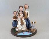 Customized Fishing/ Hunting Theme Family Wedding Cake Topper