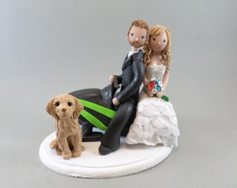 Bride &Groom on a Snowmobile with a Dog Custom Wedding Cake Topper