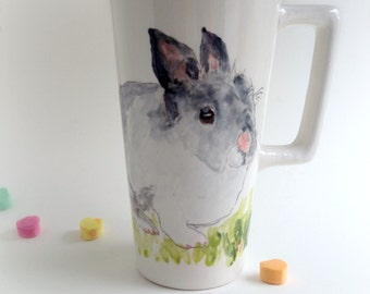 Custom pet portrait personalized travel mug easter, birthday gift from your photo by Cathie Carlson