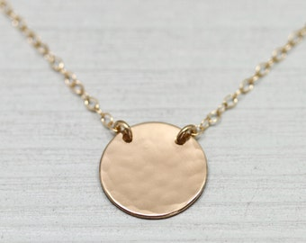 Gold disc necklace - dainty gold necklace - simple gold necklace - gold jewelry - hammered gold disc - minimalist necklace - simple jewelry